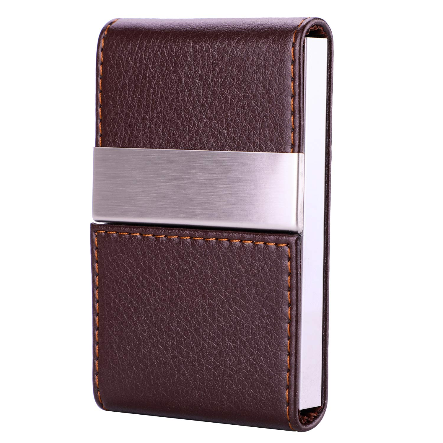 fb776c1f76f5 MaxGear PU Leather Business Card Holder Name Card Holder Case Credit Card  Case with Magnetic Shut Double Side Open, Holds 20 Business Cards, ...