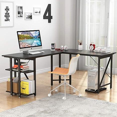 LITTLE TREE Large L-Shaped Desk, 67 inch Modern Corner Computer Desk Gaming  Table with Shelves, PC Laptop Workstation Desk for Home Office, Black