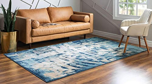 Unique Loom Mystic Collection Abstract Calligraphy Vintage Navy Blue Area Rug 8 0 x 10 0