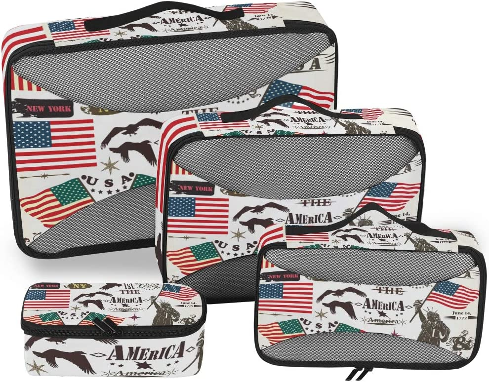 USA Flag Eagle Luggage Packing Cubes Organizers Toiletry Laundry Storage Bag Pouches Packable Cube 4 Various Sizes Set for Travel Kids Women