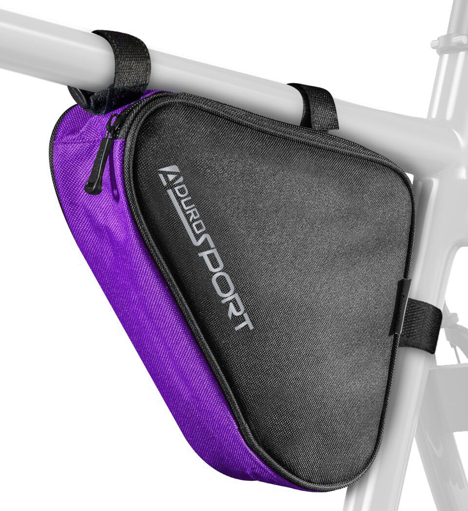 Aduro Sport Bicycle Bike Storage Bag Triangle Saddle Frame Pouch for Cycling (Purple)