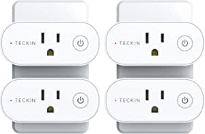Smart Plug Wifi Outlet Compatible With Alexa, Echo, Google Home and IFTTT, Teckin Mini Smart Socket with Energy Monitoring and Timer Function, No Hub Required,16A,4 Pack