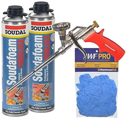 Soudal Pro fireblock espuma sellador 2 – 24 oz latas + pistola + guantes de nitrilo