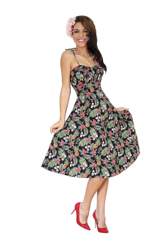 SugarShock Damen Hawaii Flower rockabilly retro Hibiskus Swing Kleid Petticoatkleid