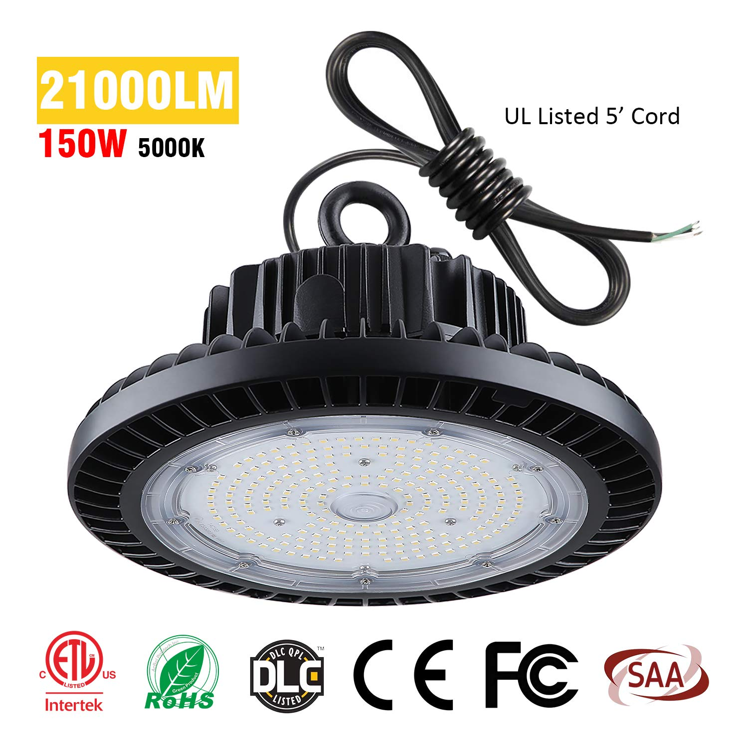 TREONYIA UFO LED High Bay Light 150W - 21000LM 5000K, ETL&DLC Listed (600W HID/HPS Equivalent), Super Bright LED Warehouse Lighting Lamp Fixture, IP65 Waterproof (With Safe Rope, UL Approved 5' Cable)