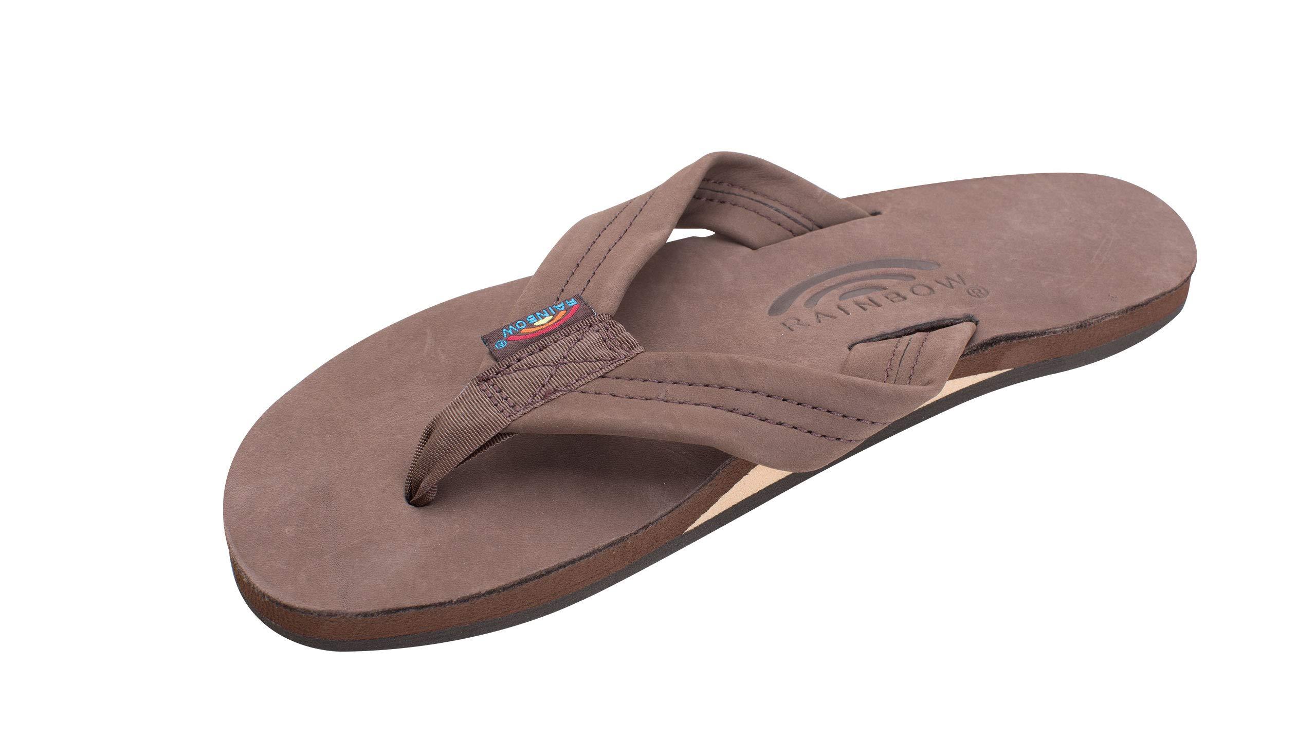 Rainbow Sandals Women's Single Layer Premier Leather Expresso, Large / 7.5-8.5 B(M) US