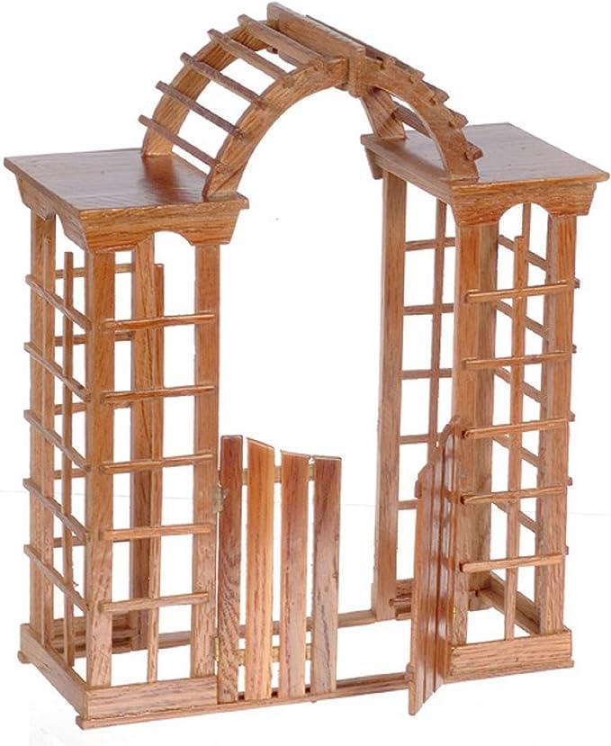 Amazon.es: Casa de Muñecas Miniatura - Cenador Pérgola de Jardín de Madera de Nogal con Puerta 7221: Juguetes y juegos