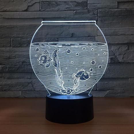 LT&NT Pecera 3D Visual Noche de ilusión óptica luz, Toque Escritorio led Lámparas de Mesa