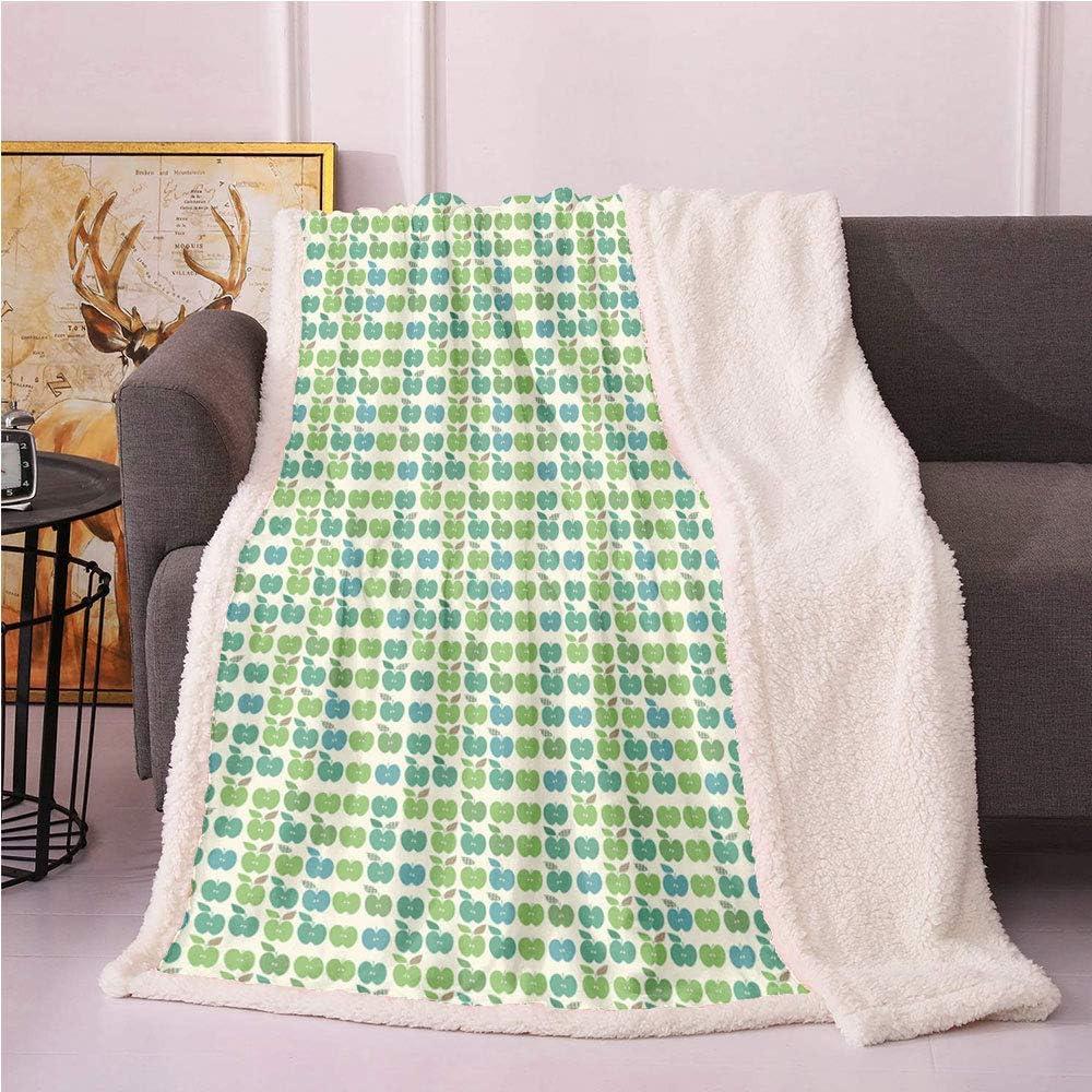 SeptSonne Apple Green Plush Blanket,Repetitive Fresh Fruits Sliced Raw Vegan Food Illustration Light Thermal Blanket,Coverlet Blankets(40x50,Lime Green Eggshell Cadet Blue)