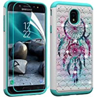 Berry Accessory Galaxy J7 2018 Case with Screen Protector,Galaxy J7 Star/J7 Aura/J7 Aero/J7 Top/J7 Crown Glitter Sparkle Bling Studded Rhinestone Crystal Hybrid Dual Layer Armor Case