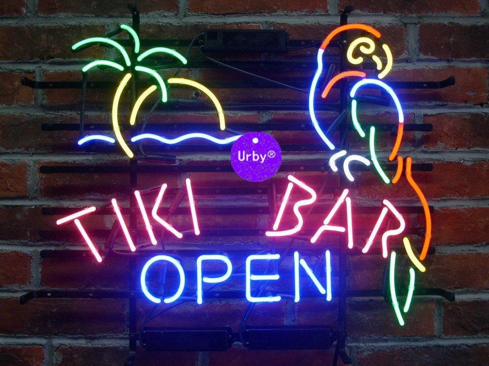 Urby™ 20''x16'' Tiki Bar Open Parrot Handmade Real Glass Neon Sign (MultipleSizes) Beer Bar Light Handicraft U121