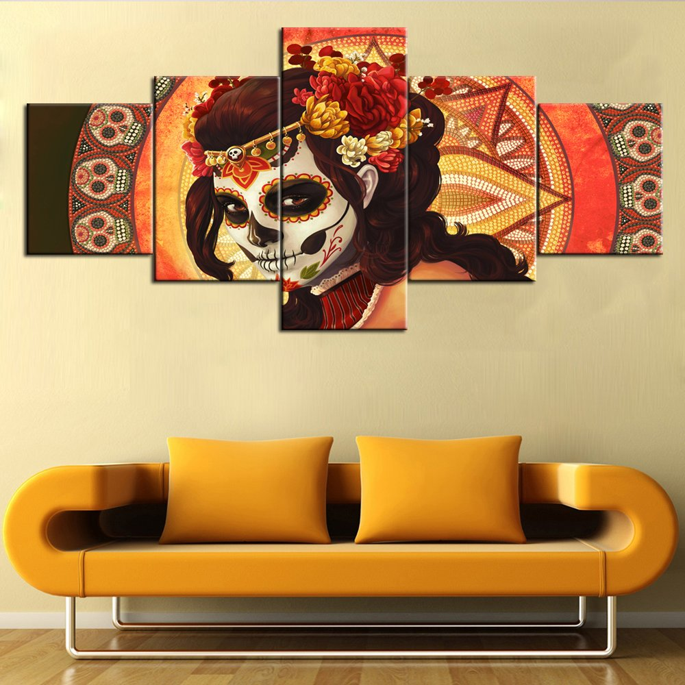 Amazon.com: Day of The Dead Decor Framed Wall Art for Living Room ...