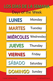 Amazon.com: Spanish Language School Poster - Colors - Wall Chart ...