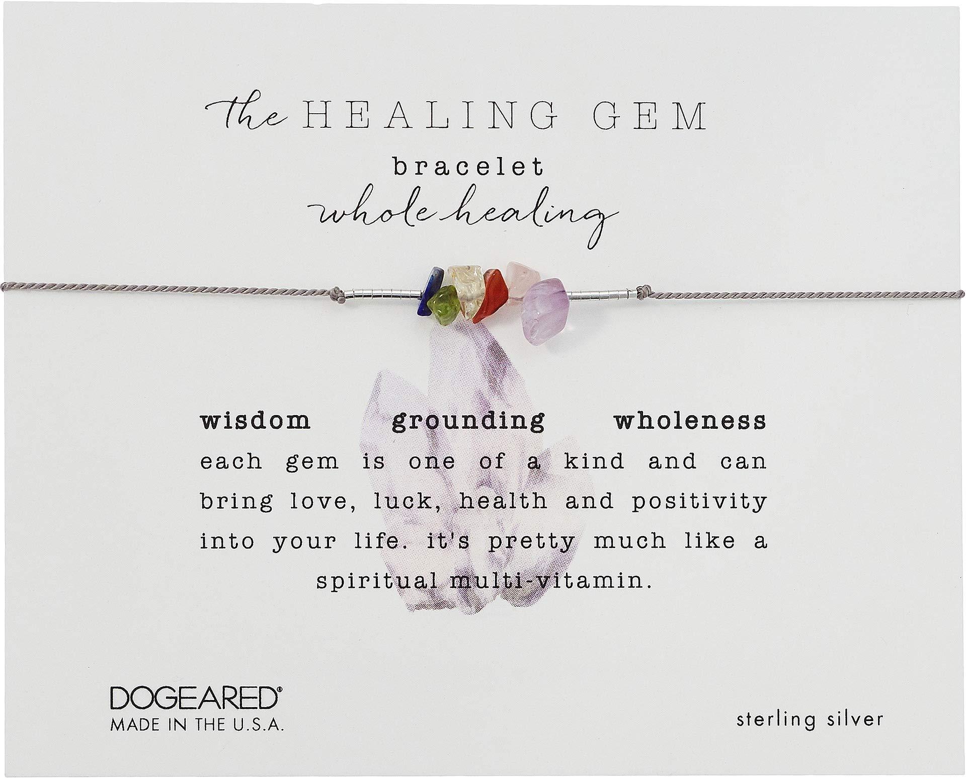 Dogeared Women's The Healing Gem Bracelet, Whole Healing Gems On Silk w/Accent Beads Silver/Grey One Size