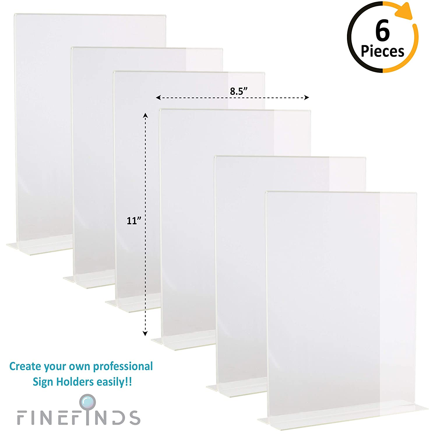 Amazon Vertical 85 X 11 Acrylic Sign Holder 6 Pack T Shape
