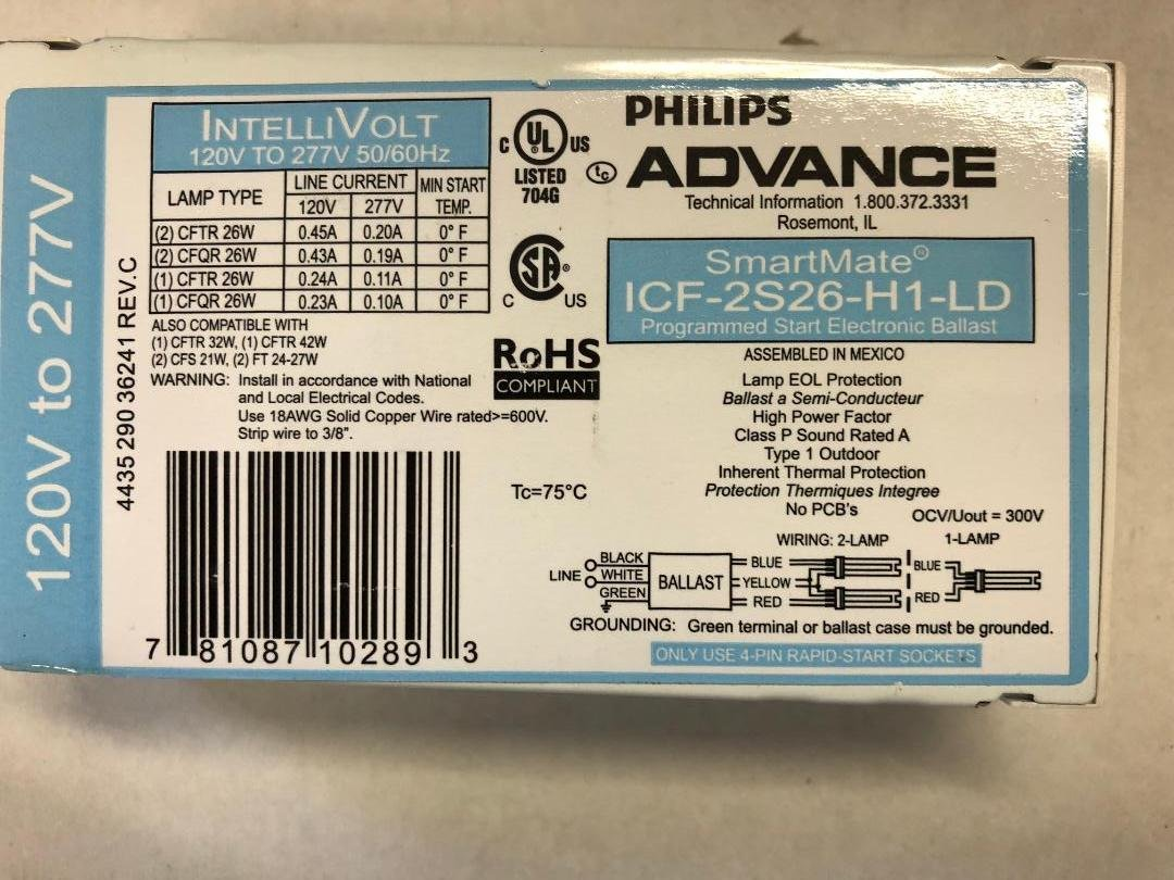 Advance ICF-2S26-H1-LD SmartMate 2x26W CFL 4-Pin Ballast - HPF