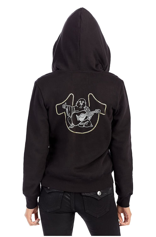 True Religion Studded Buddha Half Zip Up Hoodie In Black WQQH057EVA