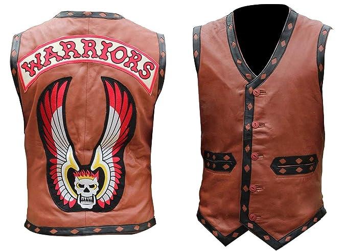 Amazon.com: Chaqueta de piel auténtica para hombre Warriors ...