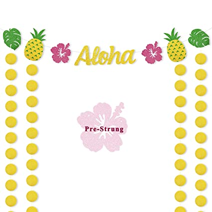 f08765e834a Hawaiian Aloha Party Banner Luau Themed Supplies Tropical Leaves Pineapple  Decorations Glitter Circle Dots Backdrop for