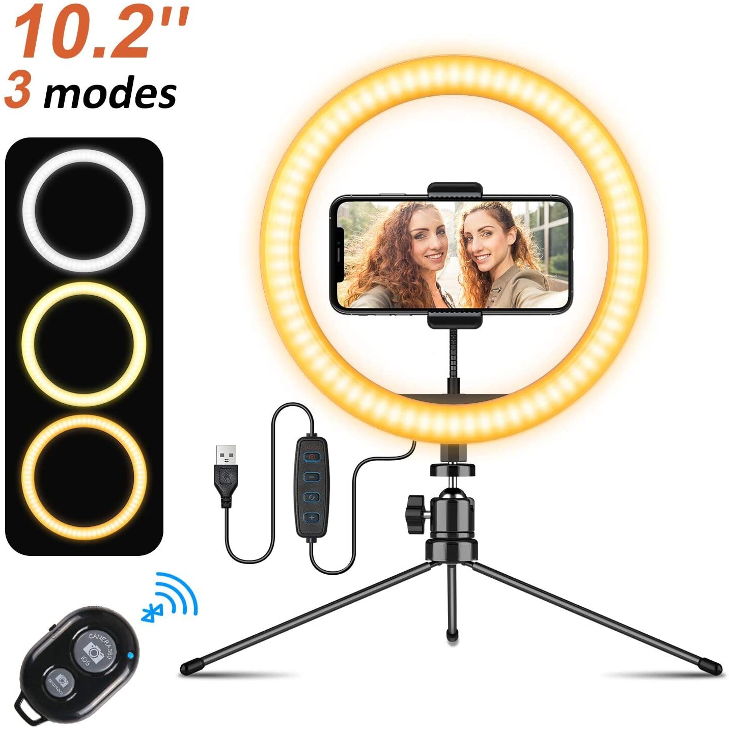 """Ring Light 10.2"""" Selfie Ring Light with Tripod Stand,GUSGU Remote Control Mini LED Ring Light for Live Streaming/Video/Photography,Compatible with iPhone/Android (10 Brightness Level & 3 Light Modes)"""