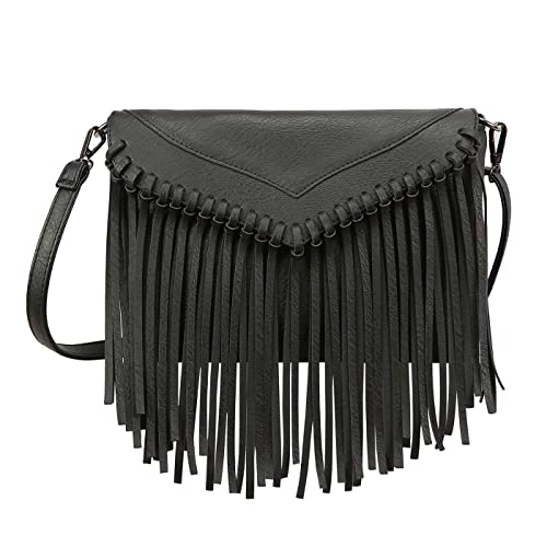 8505026cb3 Amazon.com  HDE Women s PU Leather Hobo Fringe Crossbody Tassel Purse  Vintage Small Handbag  Shoes