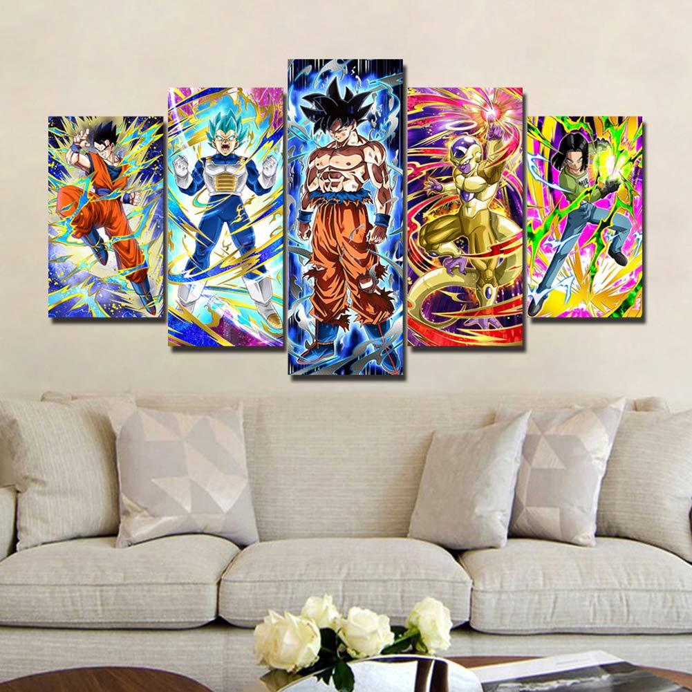 QJXX Leinwanddrucke Dragon Ball Z Bild Auf Leinwand Gedruckt 5 Panels Drucken Super Saiyan Wandkunst Bilddrucke Leinwände Für Wohnzimmer Dekoration,A,30×50Cm×2+30×70Cm×2+30×80Cm×1