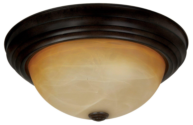 Yosemite Home Decor JK102-13VB Belen 2-Light 13-1/2-Inch Ceiling Flush Mount, Venetian Bronze Frame