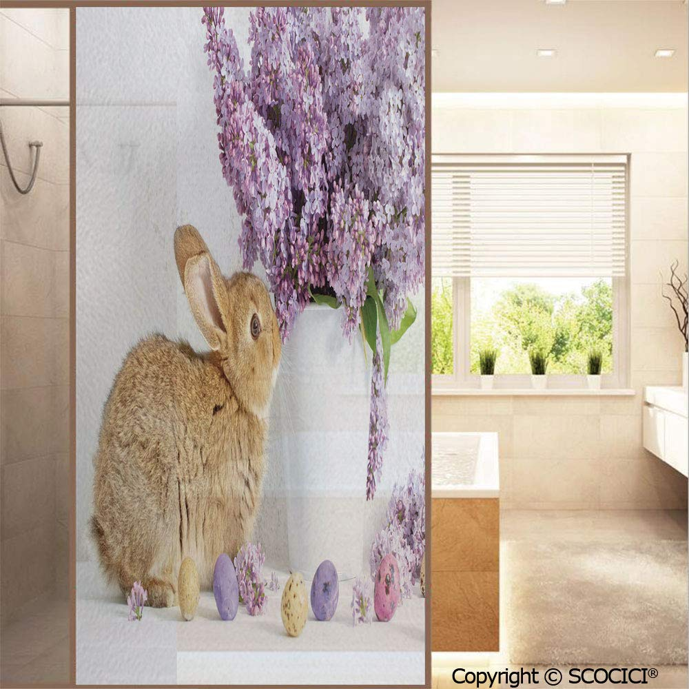 """SCOCICI No Glue Window Films Brown Easter Rabbit with Lilac Flowers Dyed Eggs Floral Country Style Stained Opaque Glass Stickers Decor Home Hotel Resturant (23.6""""x47.2"""")"""