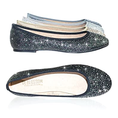Image Unavailable. Image not available for. Color  Women s Round Toe Ballet  Flats with Iridescent Rhinestone ... d70c4c4869a5