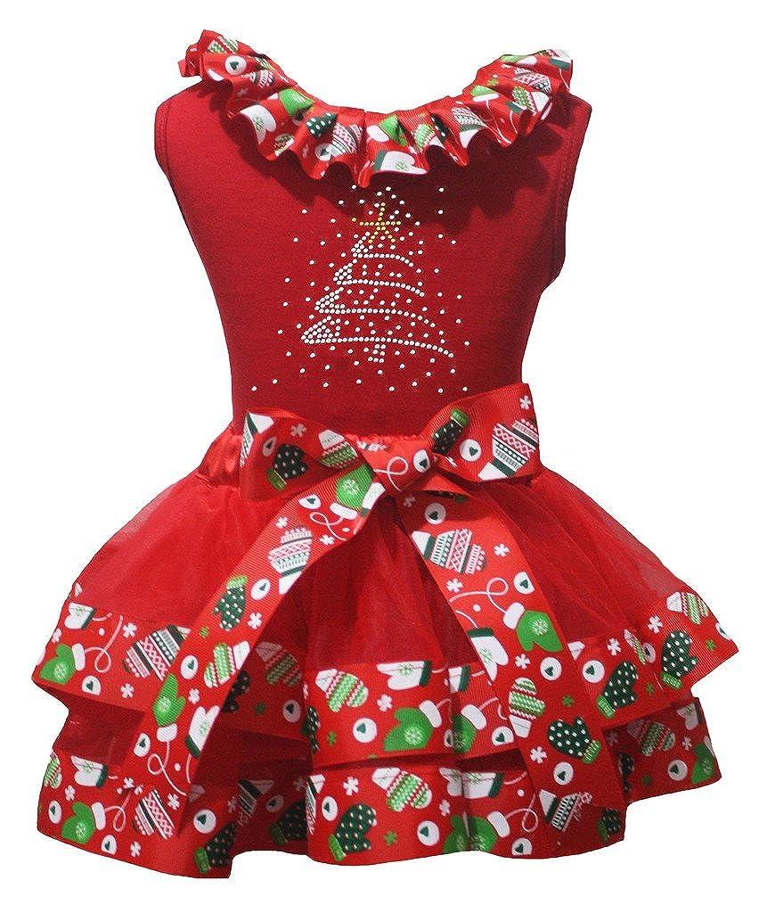 Petitebella Bling Christmas Tree Red Shirt Xmas Petal Skirt Outfit Set Nb-8y