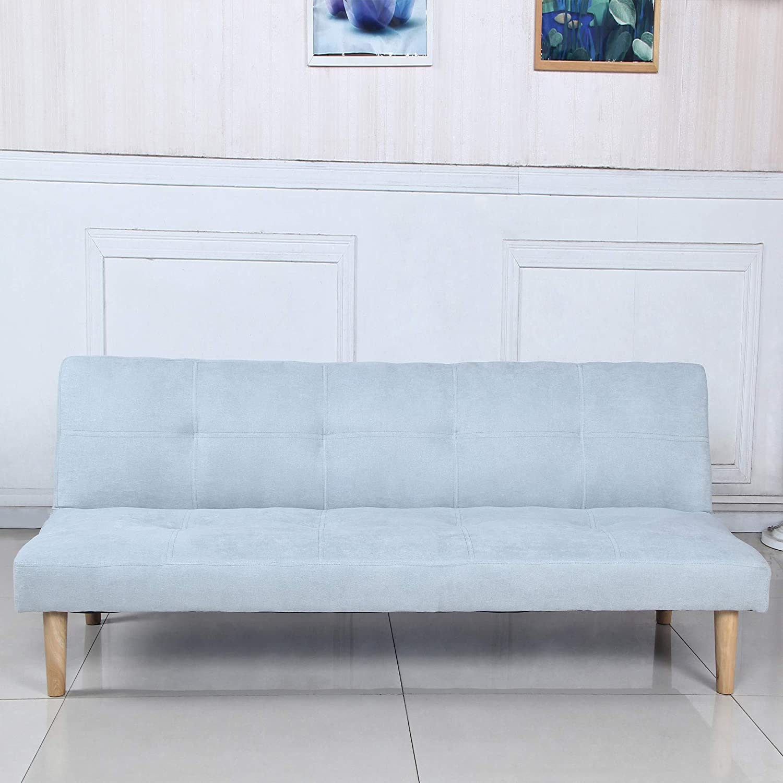 Sofá Cama 3 plazas Clic Clac Joy Azul Claro tapizado con Tela 100% Poliéster, Patas de Madera