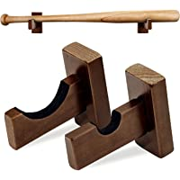 BESPORTBLE 2 Pair Baseball Bat Wall Mount for Horizontal Display Bamboo Display Case Stand Softball Bat Hanger Holder Organizer Rack Souvenir Bat Storage Shelf Brown