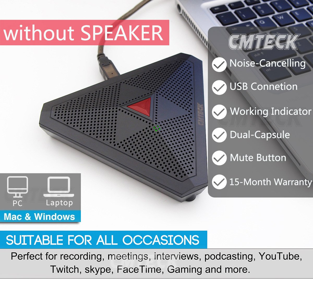 CMTECK USB Desktop Computer CM001R Microphone, Mute Button with LED Indicator, Omnidirectional Condenser Boundary Conference Mic for Recording,Streaming,Gaming,Skype (Windows/Mac)