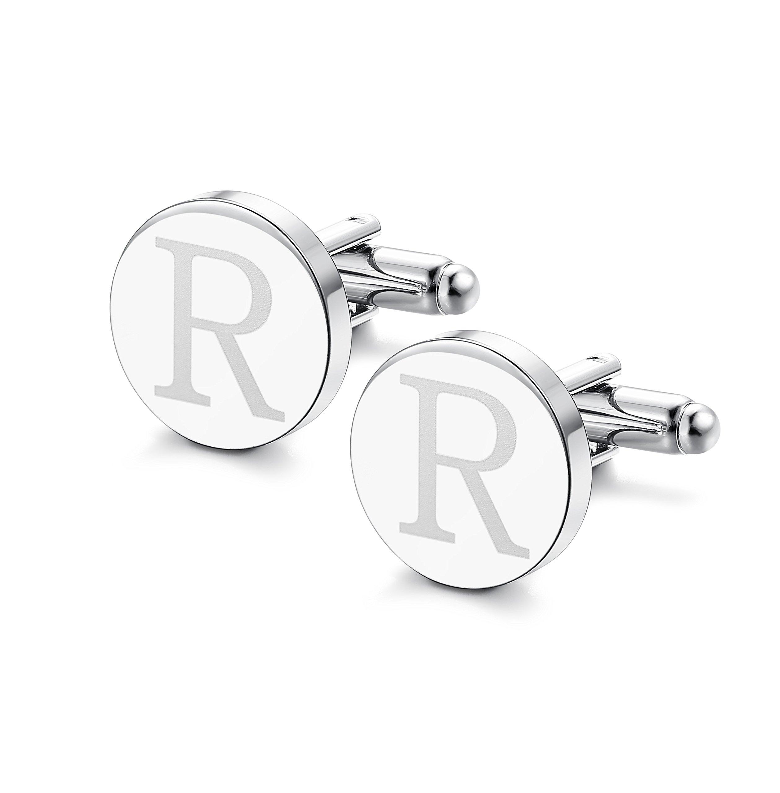 ORAZIO Mens Classic Engraved Initial Cufflinks Alphabet Letter Cufflinks Formal Kit Business Wedding Shirts R