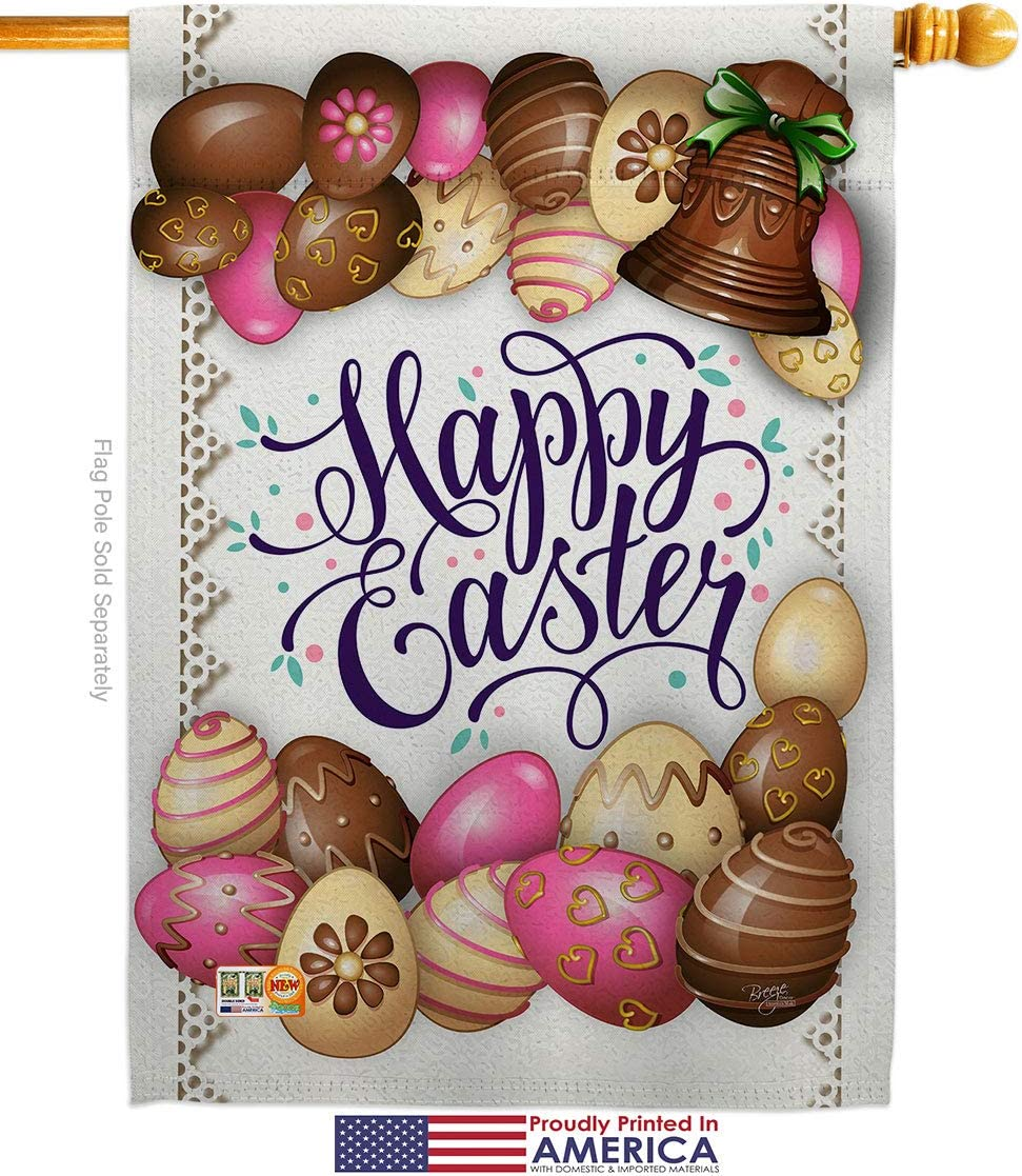 Breeze Decor Easter Sweet Chocolate House Flag Set Spring Happy Bunny Egg Christian Season Springtime Holiday Small Decorative Gift Yard Banner Made In Usa 28 X 40 Garden Outdoor