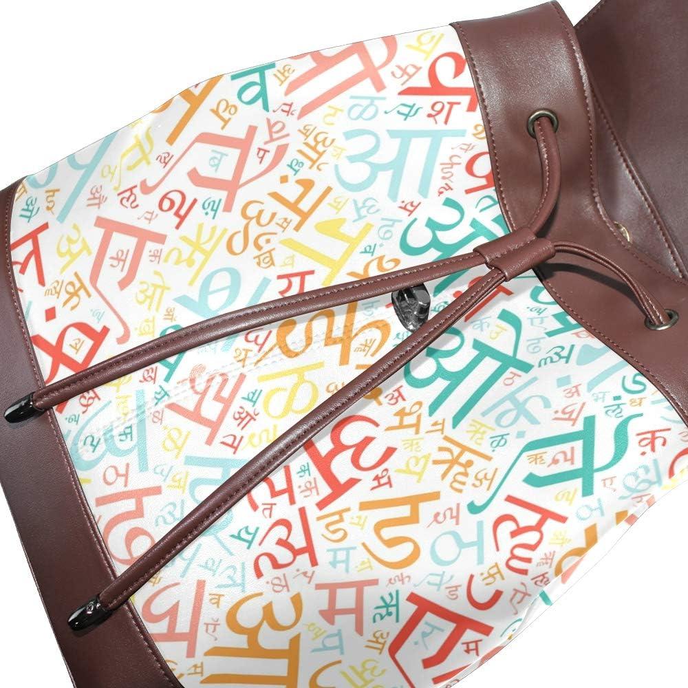 PU Leather Shoulder Bag,Creative Hindi Alphabet Texture Backpack,Portable Travel School Rucksack,Satchel with Top Handle