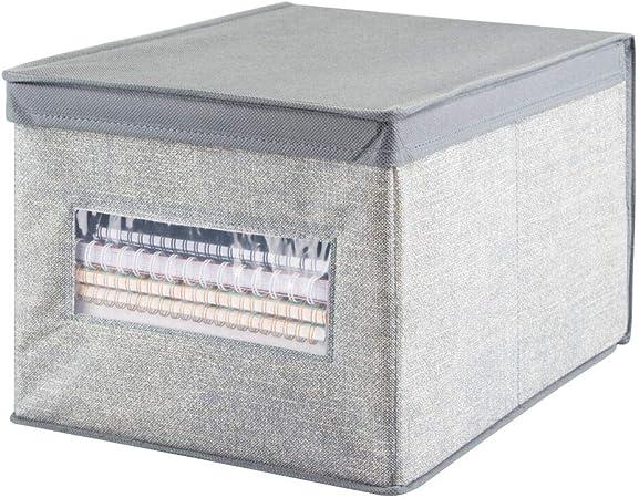mDesign Organizador de escritorio – Caja organizadora grande con tapa para lápices, libretas y otros artículos – Caja para organizar con ventana transparente – gris: Amazon.es: Hogar