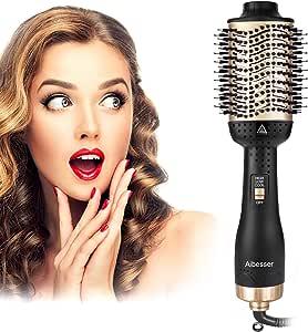 Aibesser - Secador de pelo multifunción 5 en 2 Upgrade cepillo de aire caliente Hair Dryer & Volumizer cepillo de aire caliente negativo Lonic cepillo de secador de pelo plancha cepillo de aire caliente cepillo de peinado para todos los estilos