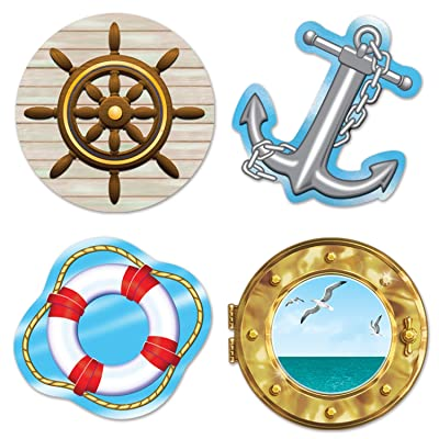 Beistle 54217 Nautical Cutouts, 133/4-Inch, 16'' 14'' 4'', Multicolored: Kitchen & Dining