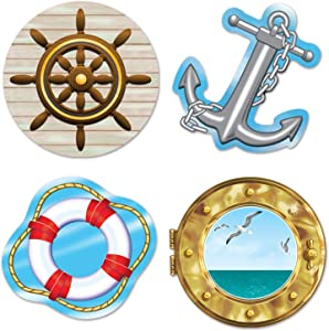 Beistle 54217 Nautical Cutouts, 133/4-Inch, 16'' 14'' 4'', Multicolored