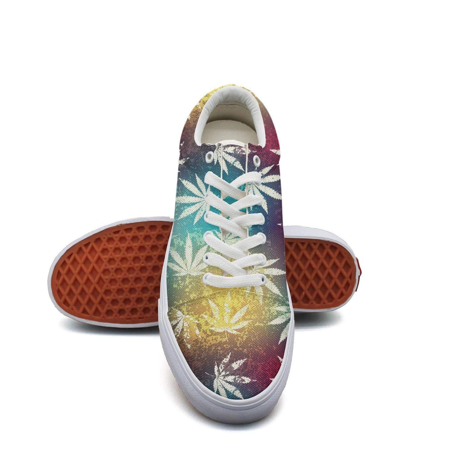 Mortimer Women's Canvas Fashion Sneakers Cannabis Charm Grunge Hemp Leaves Skate Shoe Lace Up Casual Shoes