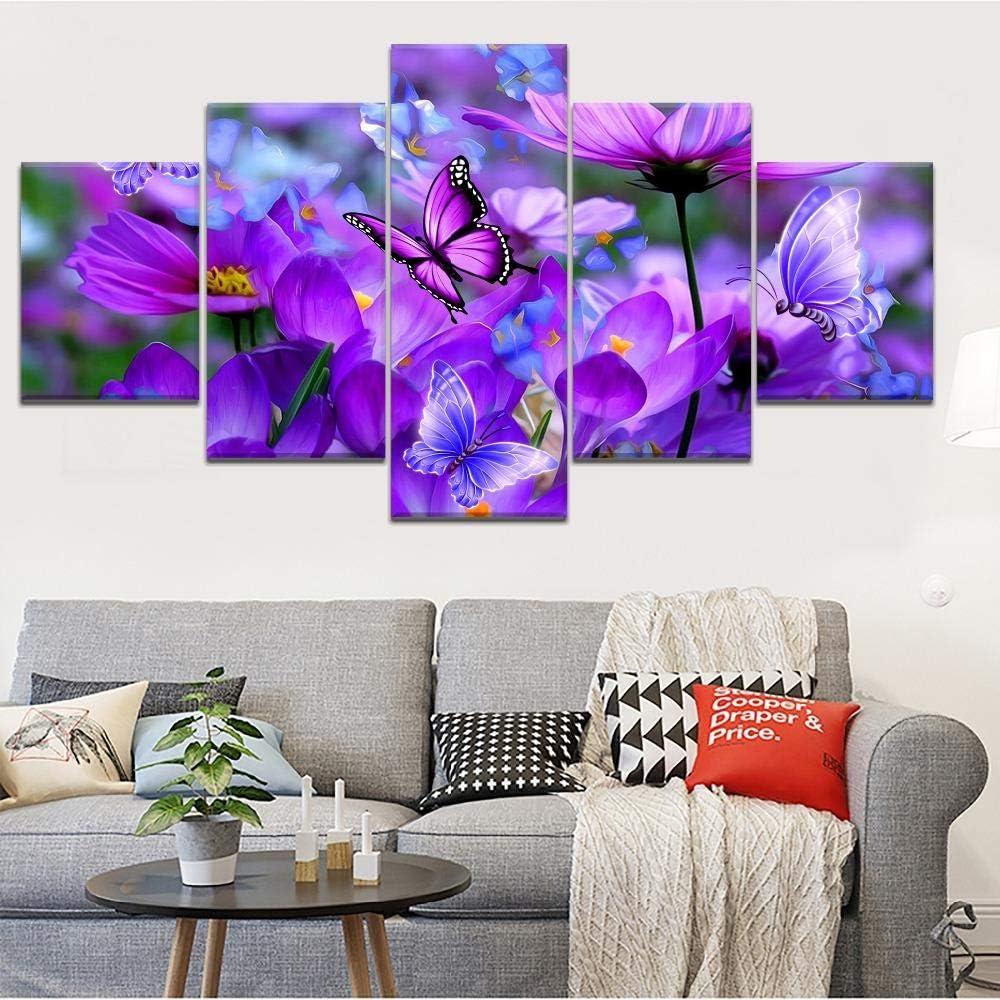 ThreU 5 Piezas Lienzo Pintura,5 Paneles Cuadros,Impresión HD,Modular Póster,Decoración Hogareña,Mural Abstracto, Mariposa Cosmos Flor Púrpura,150Cm×80Cm,con Marco
