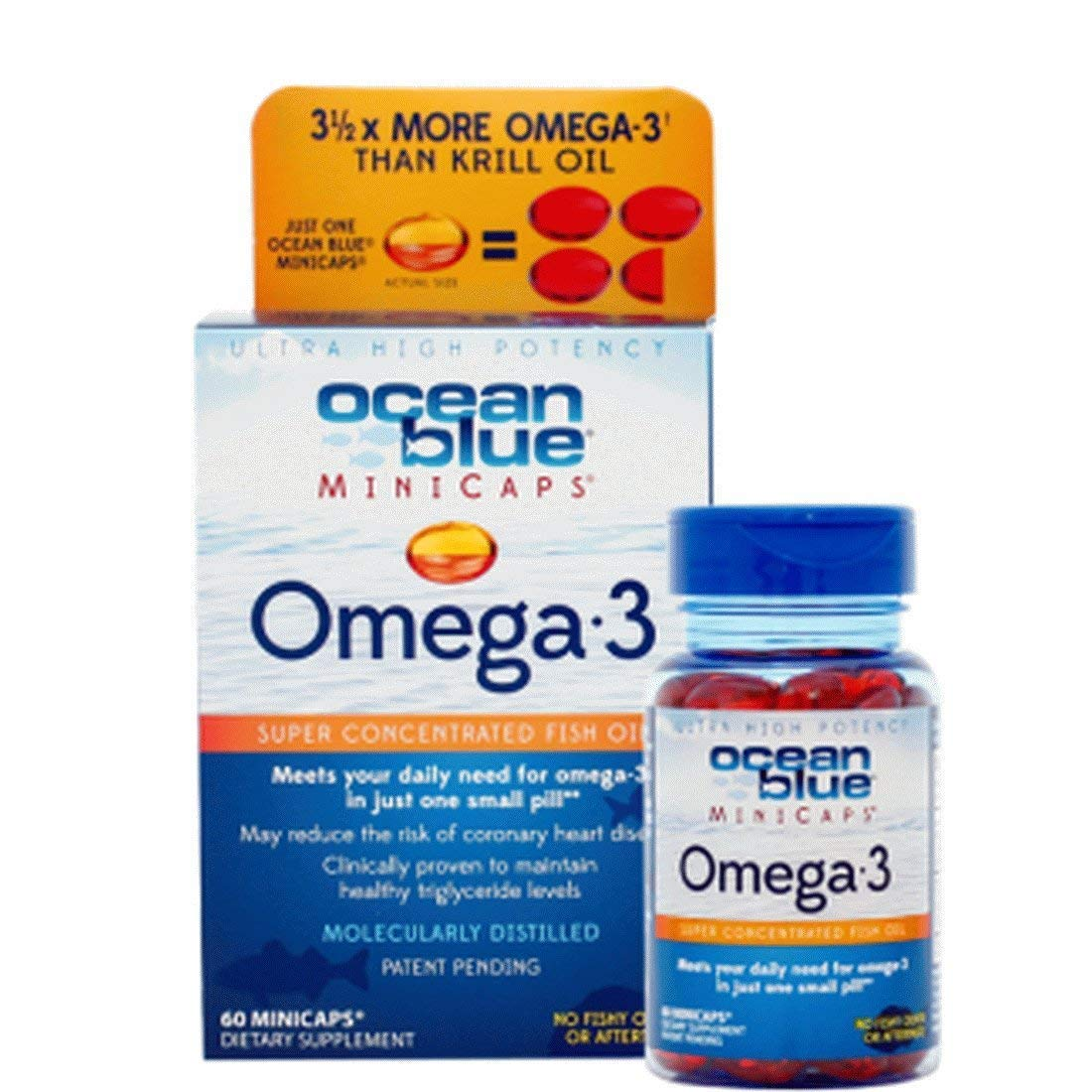 Ocean Blue Omega 3 Minicaps - 60 Count - 2-Pack - Omega 3 Fish Oil - Easy-To-Swallow Small Size - 1/3 Fat of Most Fish Oil