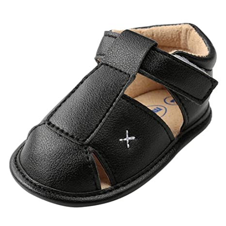 1d5f2796f Image Unavailable. Image not available for. Color  EnjoCho Infant Baby Boys  Girls PU Leather Soft Sole Anti-Slip Summer Sandals ...