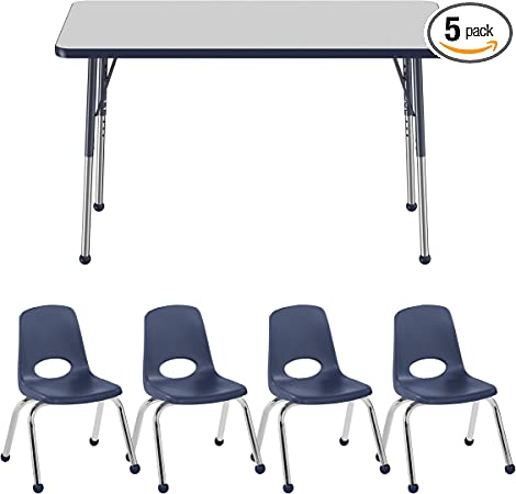 FDP Rectangle Activity School and Office Table Gray Top and Black Edge Adjustable Height 19-30 inches Standard Legs with Swivel Glides 24 x 48 inch