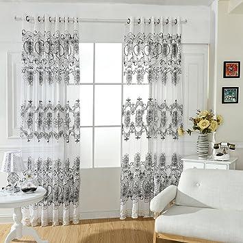 Patgoal Rideaux Salon Design Moderne Chambre Tulle Floral Fenêtre ...