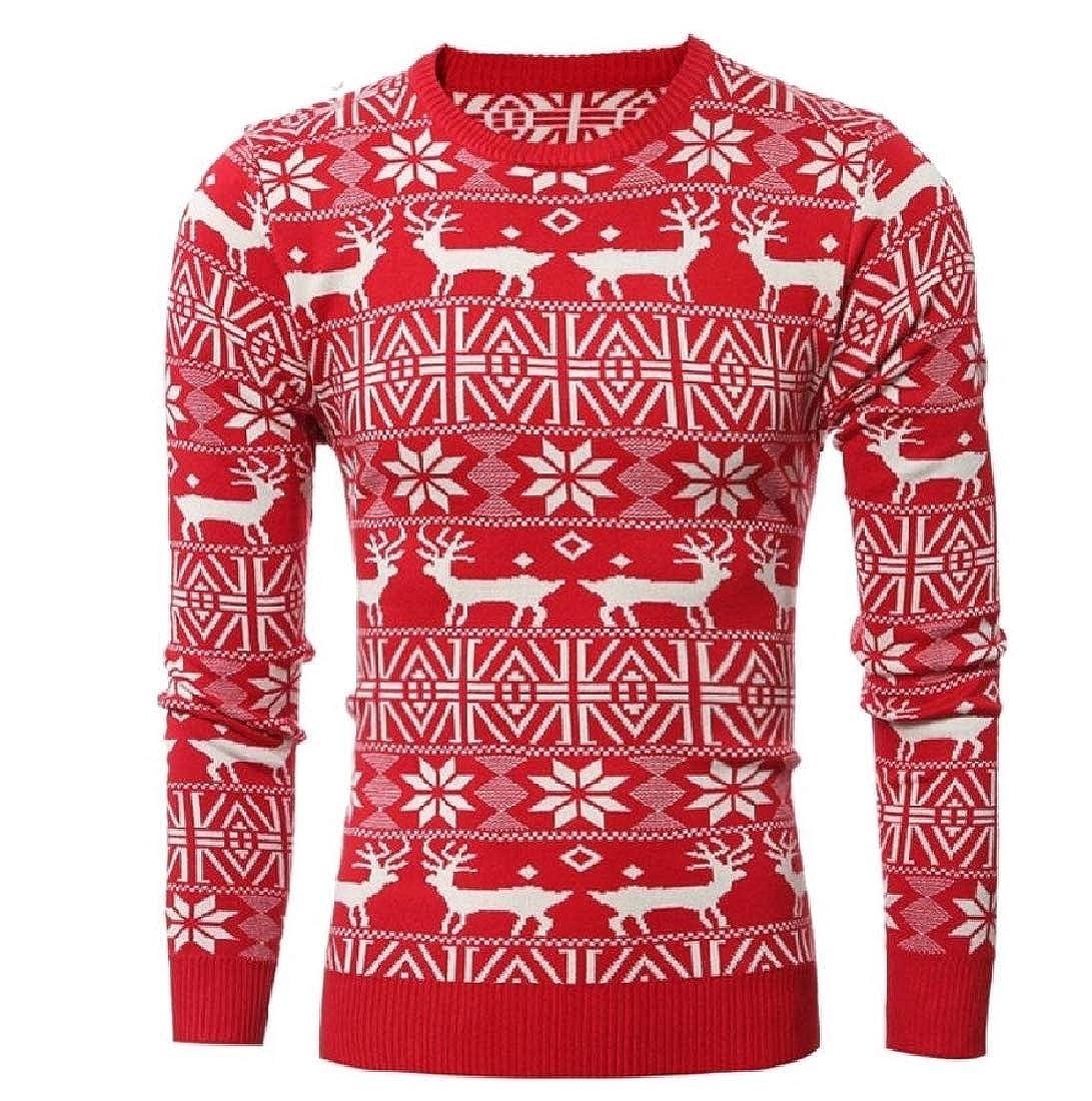 Beeatree Men Xmas Reindeer Printing Floral Jacquard Adult Sweater Top