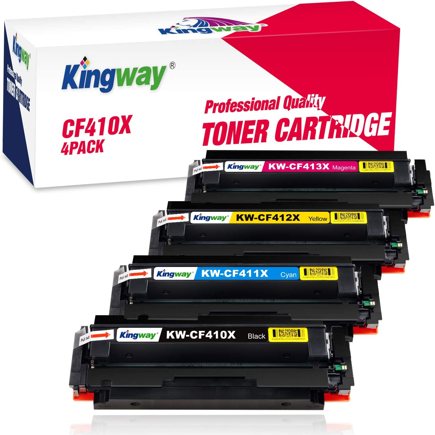 Kingway with Chip Compatible Toner Cartridge Replacement for HP 410A CF410A CF410X CF411X CF412X CF413X Work with Laserjet Pro MFP M477fdw M477fnw M477fdn M452dw M452dn M452nw M377dw (4 Pack)