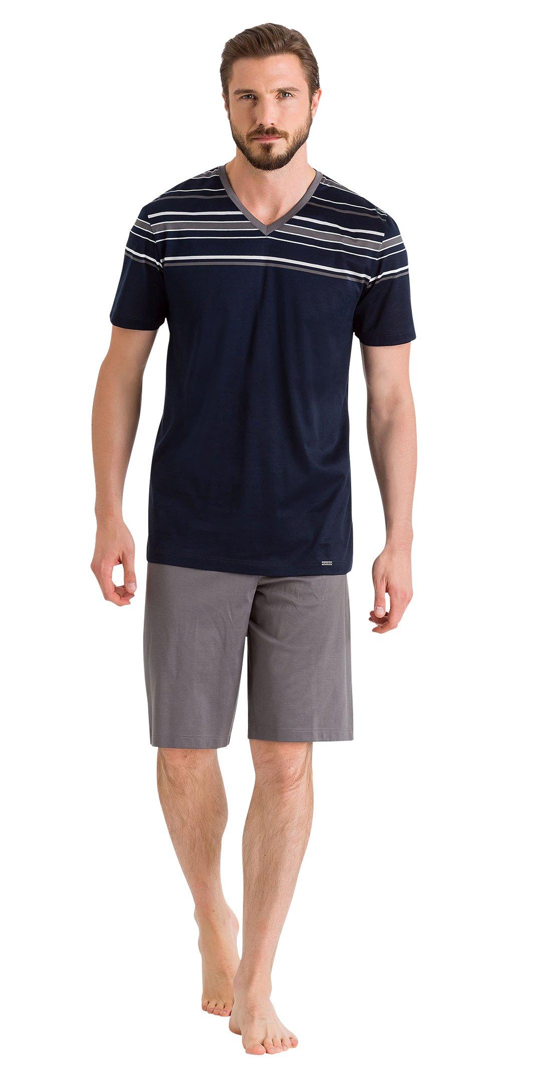 HANRO Men's Oliver Short Sleeve V-Neck Pajama Set, Diverse Stripe/Castlerock, Large