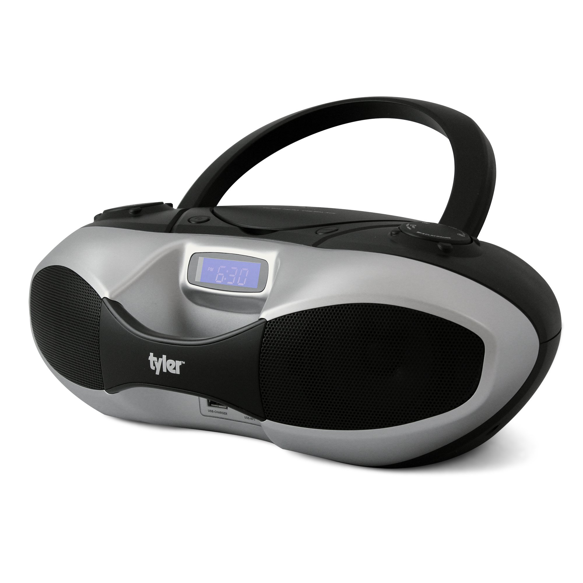 Tyler Portable Sport Stereo MP3/CD Boombox Player TAU104-SL with USB Charging Port for Phones and Tablets, USB MP3 Input, FM Radio | Silver |